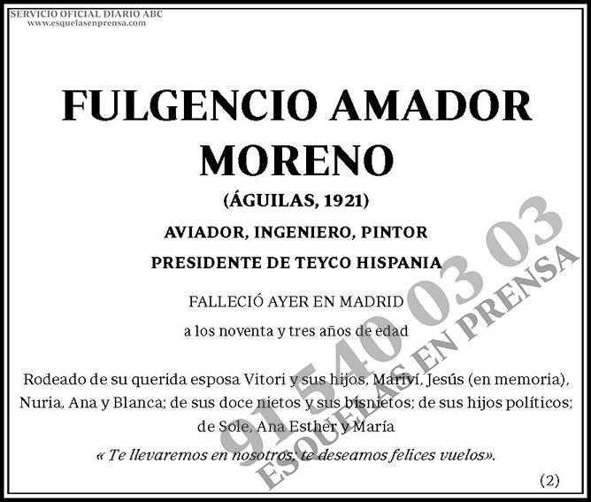 Fulgencio Amador Moreno | Esquelas en ABC